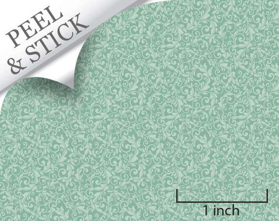 Tendril, turquoise. 1:48 quarter scale peel and stick wallpaper