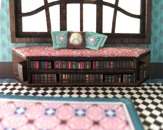 1:48 quarter scale window seat with books