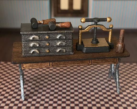 1:48 quarter scale printer's tools for the Joie de Vivre printery.
