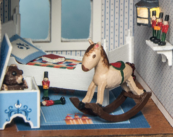 1:48 scale rocking horse, toy soldiers