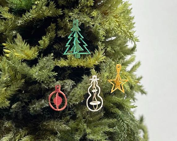 "1"" scale Christmas tree ornament set"