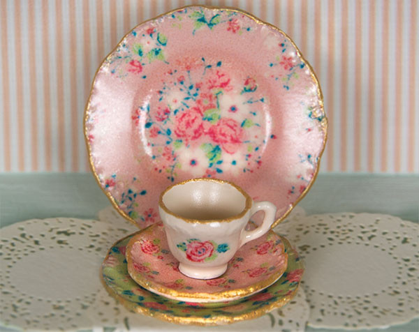 Pink chintz decals for dollhouse miniature dishes