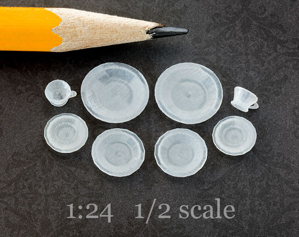 half scale, 1:24 miniature dishes for decals