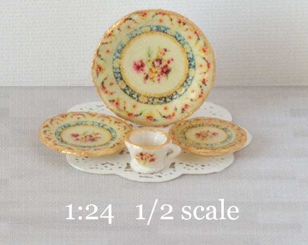 1:24 half scale Heirloom Roses decals for miniature dishes