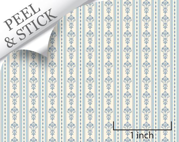 Bouquet Stripe, Blue. 1:48 quarter scale peel and stick wallpaper