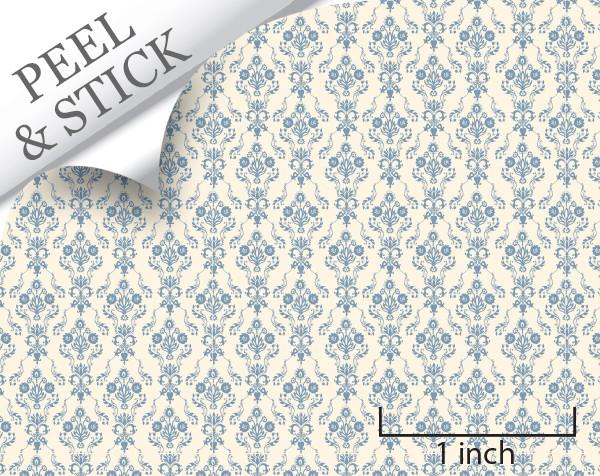 Bouquet, Blue. 1:48 quarter scale peel and stick wallpaper