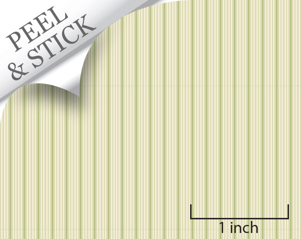 Breakfast Stripe, Green. 1:48 quarter scale peel and stick wallpaper