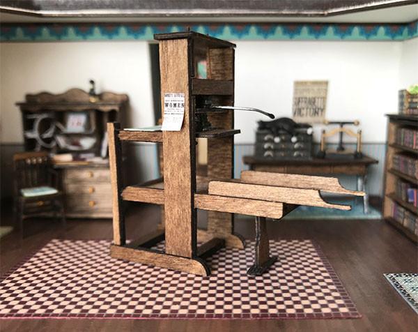 1:48 quarter scale printing press kit shown in the printery of Joie de Vivre.