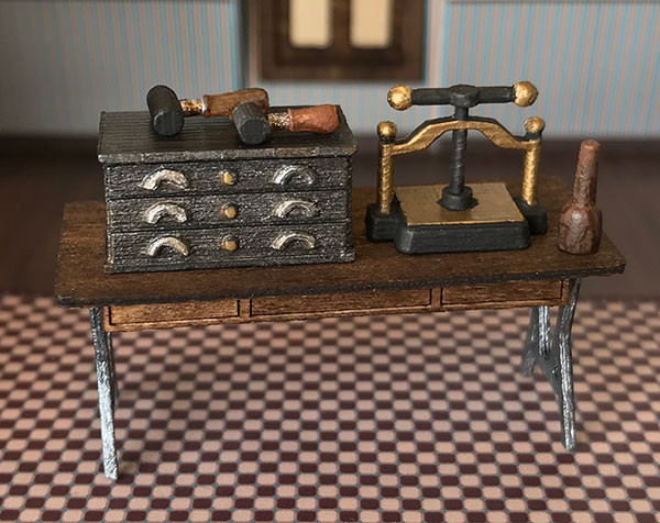 1:48 quarter scale printer's tools for the Joie de Vivre printery.