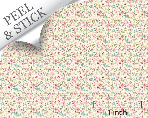 Tiny Flower, Ivory. 1:48 quarter scale peel and stick wallpaper