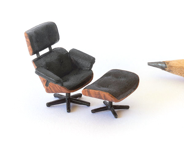 1:48 quarter scale mid-century modern lounge chair