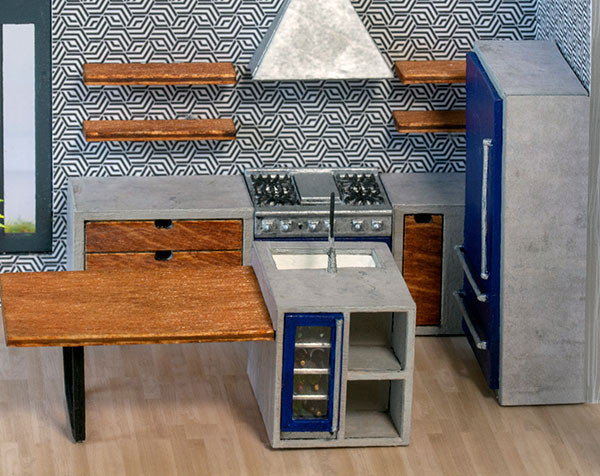 1:48 quarter scale modern stove kit shown with the Complete Kitchen Kit