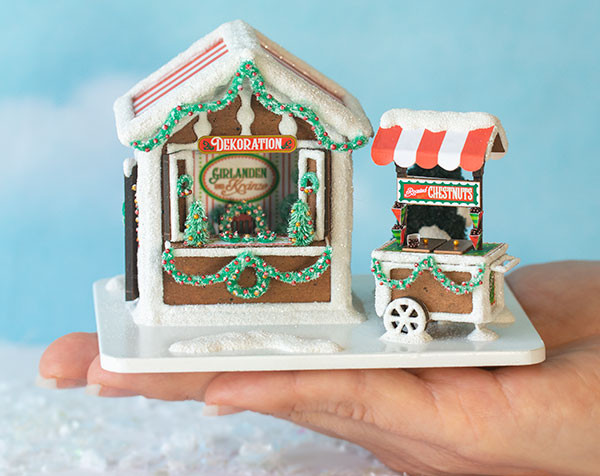 Quarter Scale Gingerbread Market Scene with Chestnut Cart Kit