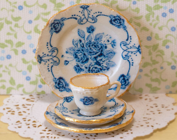Blue and White Roses Decals for one inch scale dollhouse dishes