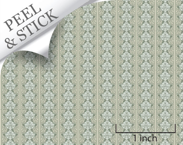 Celeste pattern, pistachio color. 1:48 quarter scale peel and stick wallpaper