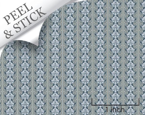 Celeste pattern, denim color. 1:48 quarter scale peel and stick wallpaper