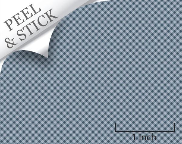 Gingham pattern, denim color. 1:48 quarter scale peel and stick wallpaper