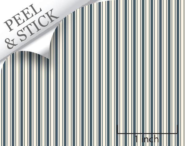 Ticking stripe pattern, denim color. 1:48 quarter scale peel and stick wallpaper