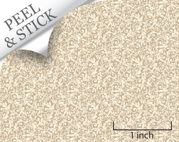 Tendril pattern, sand color. 1:48 quarter scale peel and stick wallpaper