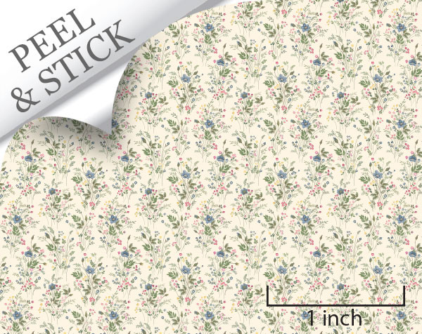 Just picked pattern, ivory color. 1:48 quarter scale peel and stick wallpaper
