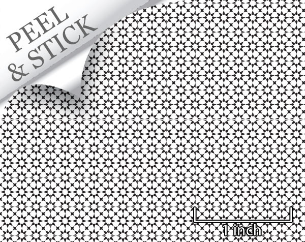Medina tile pattern, white and black color. 1:48 quarter scale peel and stick wallpaper