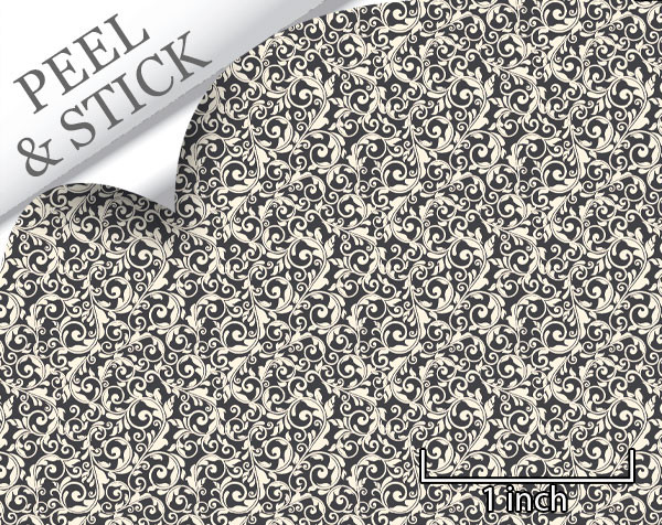 Tendril pattern, iron color. 1:48 quarter scale peel and stick wallpaper