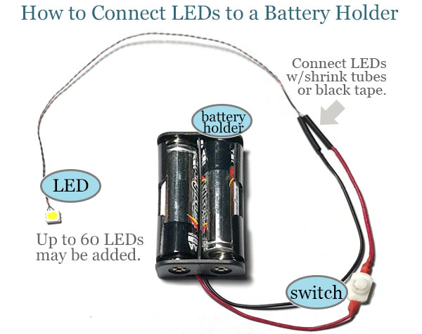 How to connect LEDs to a battery holder