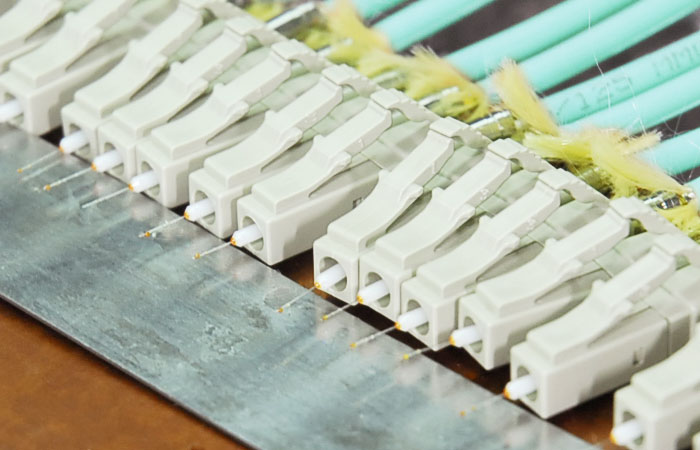 Fiber patch cables terminated and epoxy cured