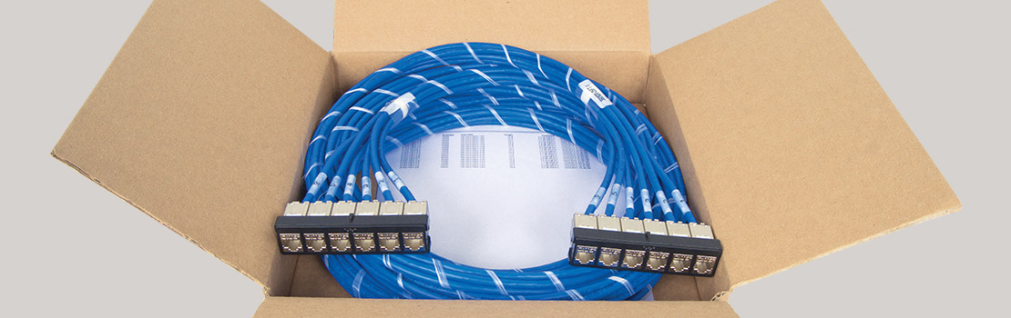 Packing for pre-terminated patch panel cable assembly