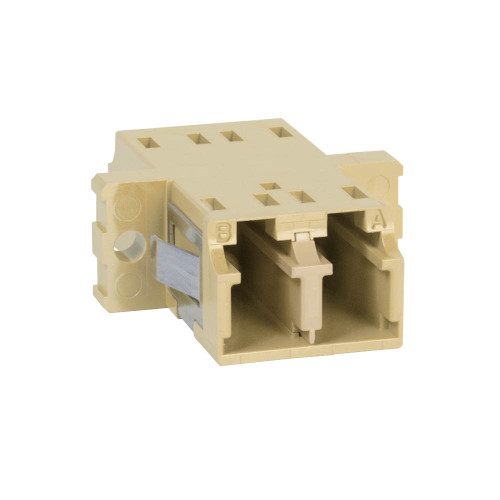 LC to LC Fiber Optic SC Mount with Duplex Adapter in Beige Cable with Metal Sleeve