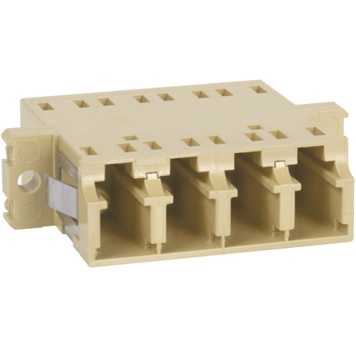 LC to LC Fiber Optic SC Mount with Quad Adapter in Beige Cable with Metal Sleeve