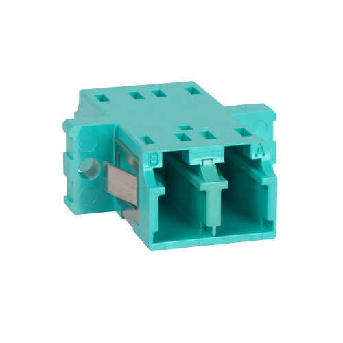LC to LC Fiber Optic SC Mount with Duplex Adapter in 10G Aqua Cable with Metal Sleeve