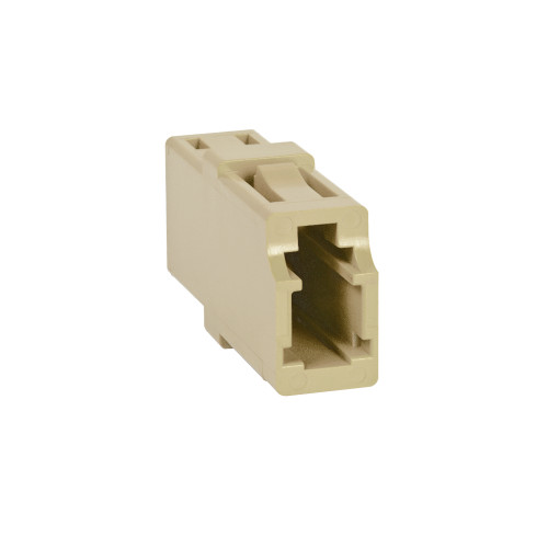 LC to LC Fiber Optic Square Mount with Simplex Adapter in Beige with Metal Sleeve