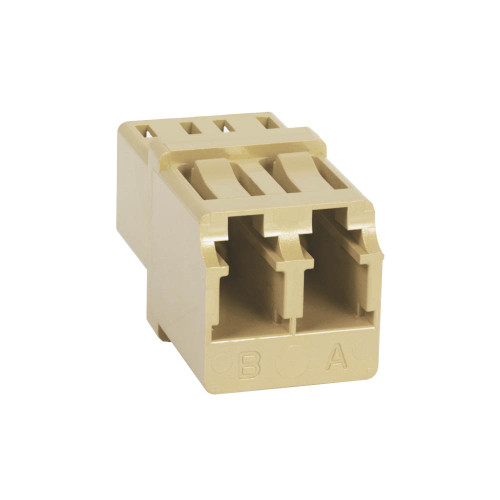 LC to LC Fiber Optic Square Mount with Duplex Adapter in Beige with Metal Sleeve