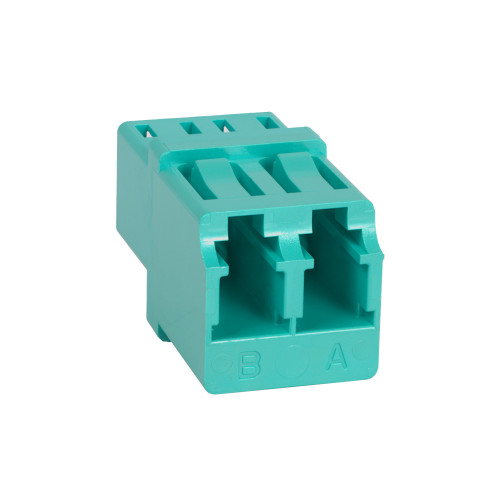 LC to LC Fiber Optic Square Mount with Duplex Adapter in 10G Aqua with Metal Sleeve