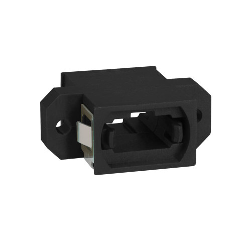 MPO Fiber Optic Adapter Feed Through in Black with Standard Footprint and Opposite Key