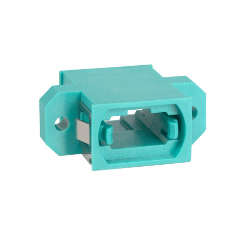MPO Fiber Optic Adapter Feed Through in 10G Aqua with Standard Footprint and Opposite Key