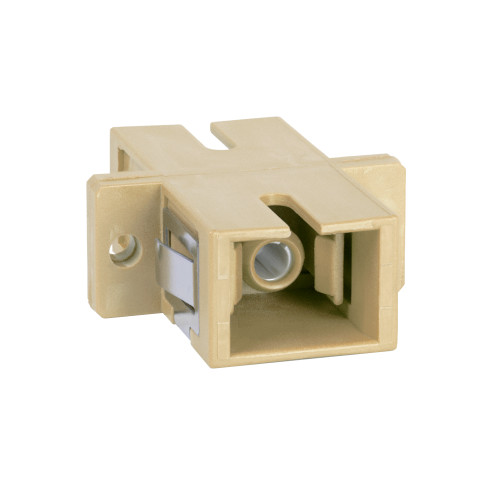 SC to SC Fiber Optic SC Mount with Simplex Adapter in Beige with Metal Sleeve