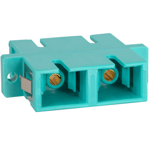 SC to SC Fiber Optic SC Mount with Duplex Adapter in 10G Aqua with Metal Sleeve