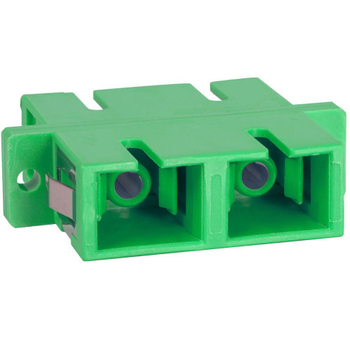 SC to SC Fiber Optic SC Mount with Duplex Adapter in Green with Ceramic Sleeve