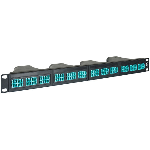 LC to MPO Fiber Optic Patch Panel with 96 10G Aqua Fibers and 4 Configurable Casettes with 24 Fibers per Cassette
