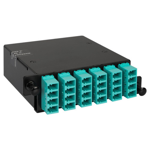 LC to MPO Fiber Optic HD Cassette with Aqua Multimode Adapters and 24 10G OM3 Fibers