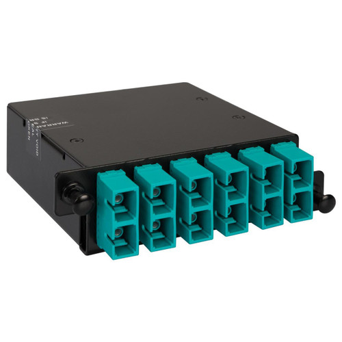 SC to MPO Fiber Optic HD Cassette with Aqua Multimode Adapters and 12 10G OM3 Fibers
