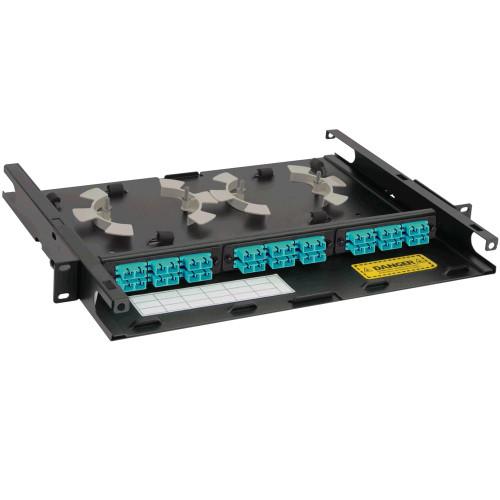 SC-SC Fiber Optic Rack Mount Enclosure Pre-configured with 3 Adapter Panels with 36 10G Aqua Fibers