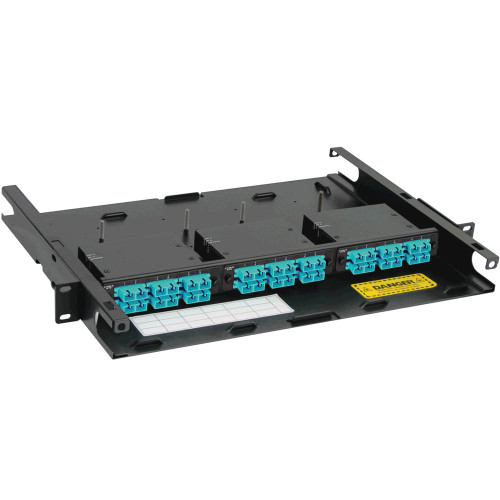 SC to MPO Fiber Optic Rack Mount Enclosure Preconfigured with 3 Cassettes with 36 10G Aqua Fibers