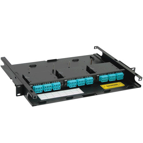 LC to MPO Fiber Optic Rack Mount Enclosure Preconfigured with 3 Cassettes with 72 10G Aqua Fibers