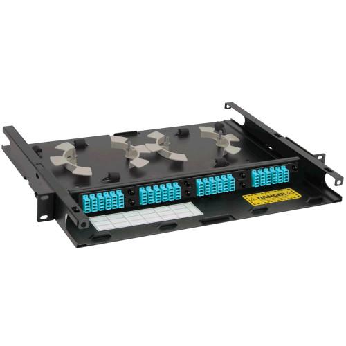 LC to LC Fiber Optic Rack Mount Enclosure Preconfigured with 4 HD Adapter Panels with 96 10G Aqua Fibers
