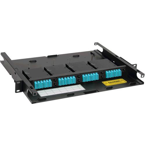 LC to MPO Fiber Optic Rack Mount Enclosure Preconfigured with 4 HD Cassettes with 96 10G Aqua Fibers