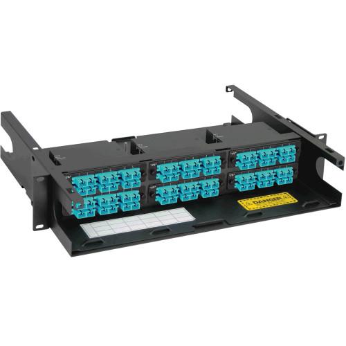 SC to MPO Fiber Optic Rack Mount Enclosure Preconfigured with 6 Cassettes with 72 10G Aqua Fibers