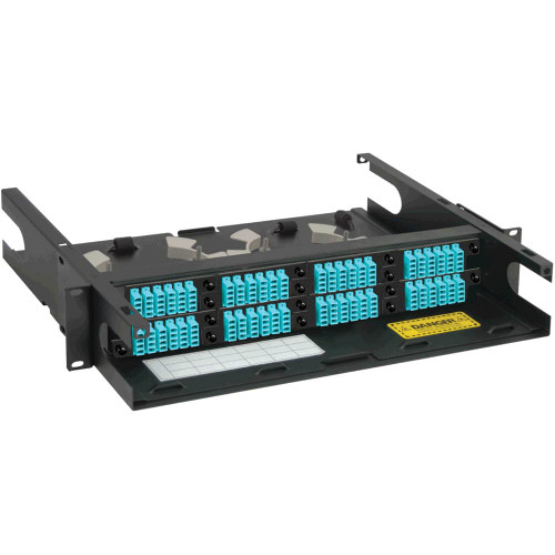 LC to LC Fiber Optic Rack Mount Enclosure Preconfigured with 8 HD Adapter Panels with 192 10G Aqua Fibers